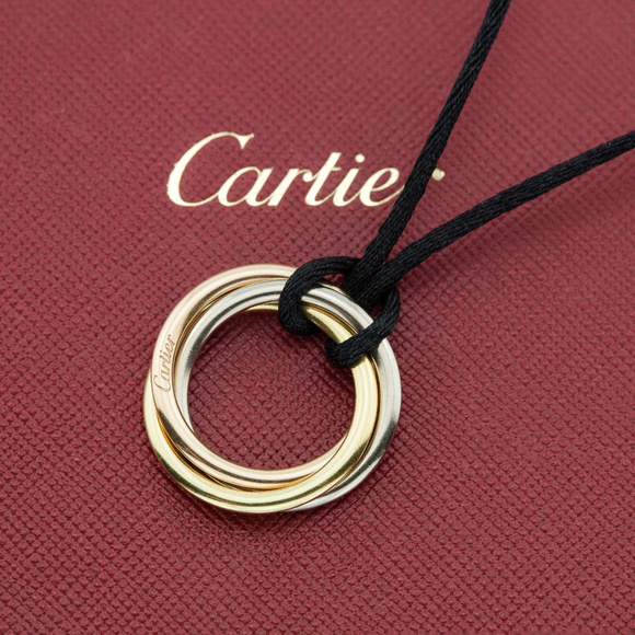 Cartier Jewelry - CARTIER 18K Tri-color Gold Rolling Womens Pendant